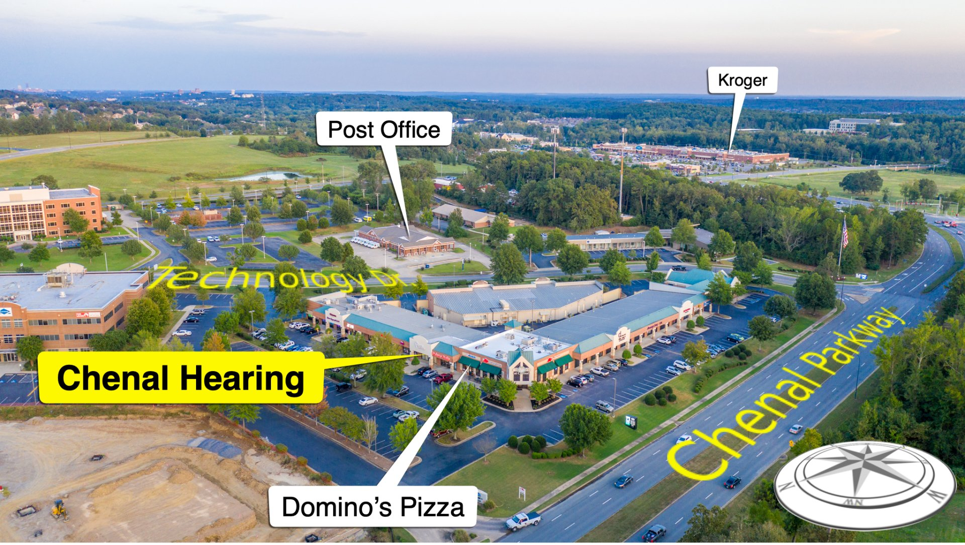 Arial view of hearing aid specialist in Little Rock